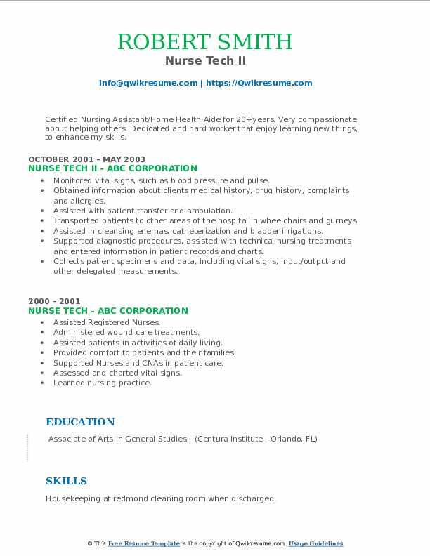 Nurse Tech II Resume1