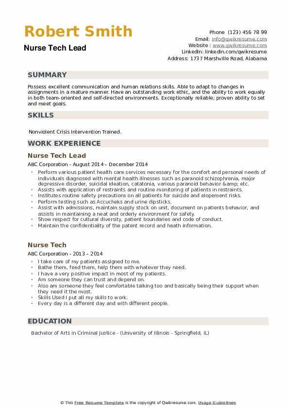 Nurse Tech Lead Resume .Docx (Word)