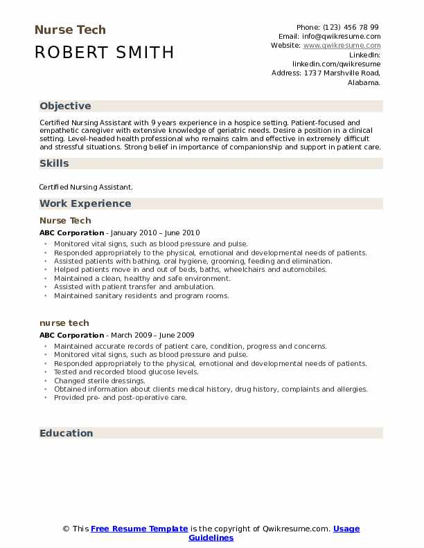 Nurse Tech Resume .Docx (Word)