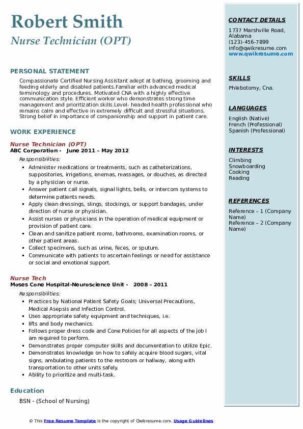 Nurse Technician (OPT) Resume