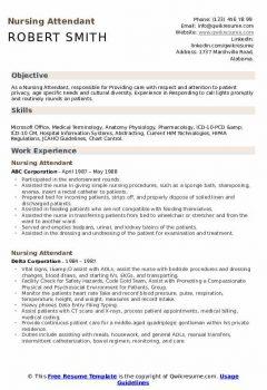 Nursing Attendant Resume > Nursing Attendant Resume .Docx (Word)