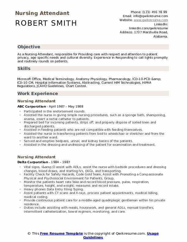 Nursing Attendant Resume