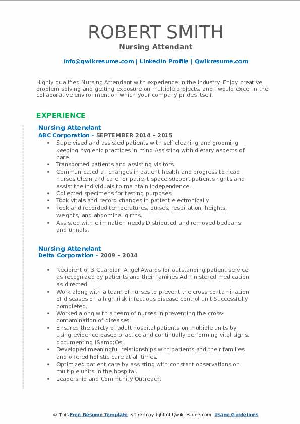 Nursing Attendant Resume3