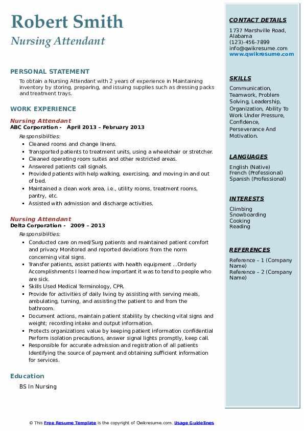 Nursing Attendant Resume4
