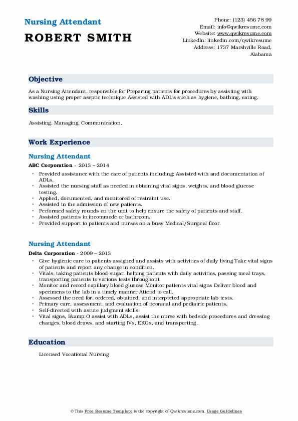 Nursing Attendant Resume5