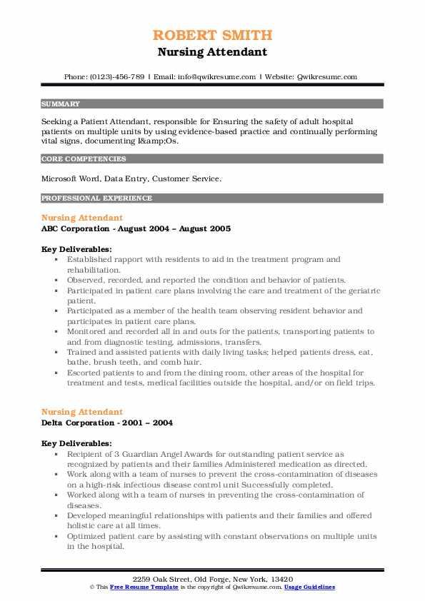 Nursing Attendant Resume .Docx (Word)