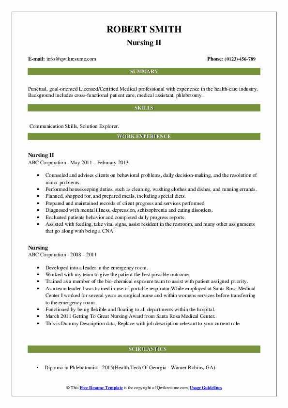 Nursing II Resume
