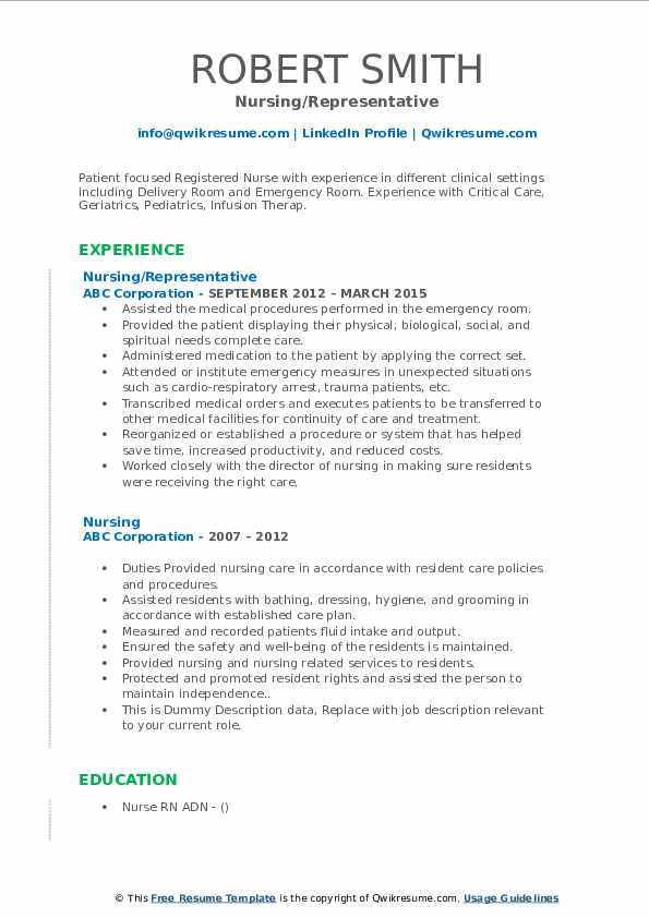 Nursing Representative Resume