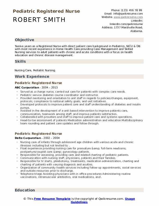 Pediatric Registered Nurse Resume