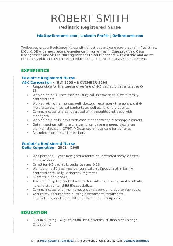 Pediatric Registered Nurse Resume3