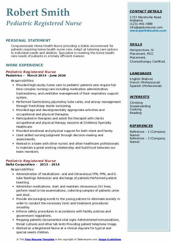 Pediatric Registered Nurse Resume4