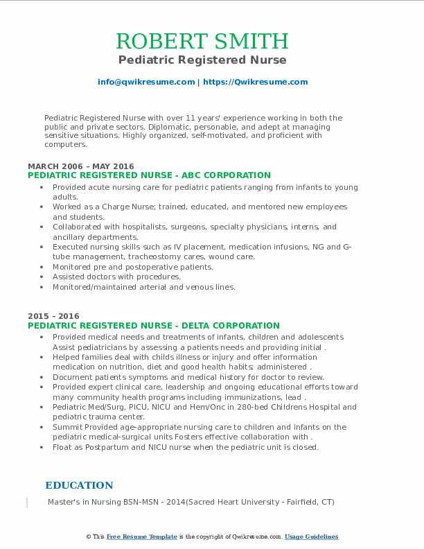 Pediatric Registered Nurse Resume6 .Docx (Word)