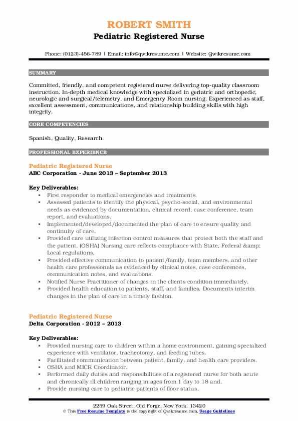 Pediatric Registered Nurse Resume7 .Docx (Word)