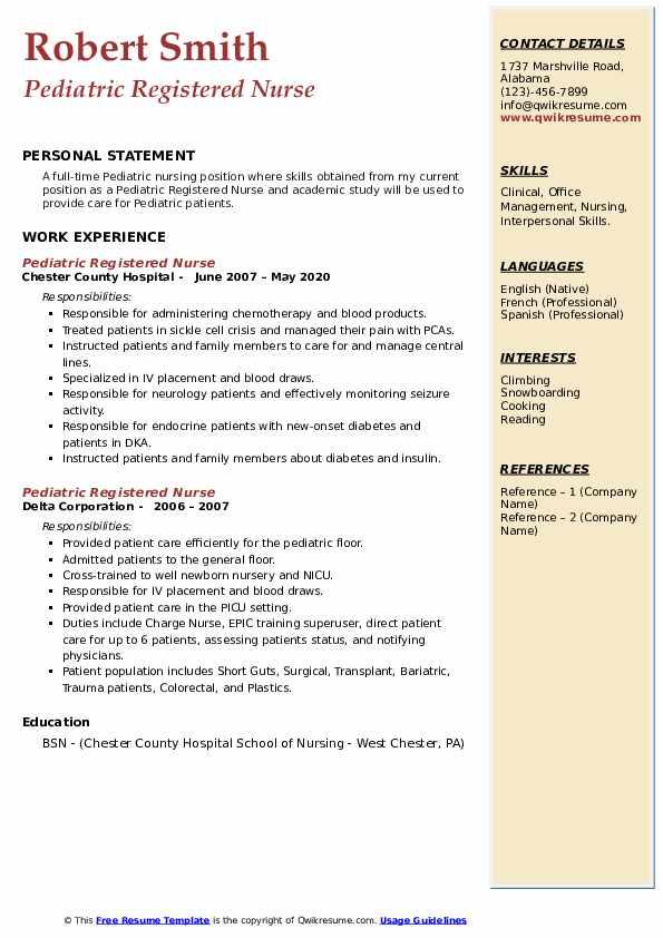 Pediatric Registered Nurse Resume8