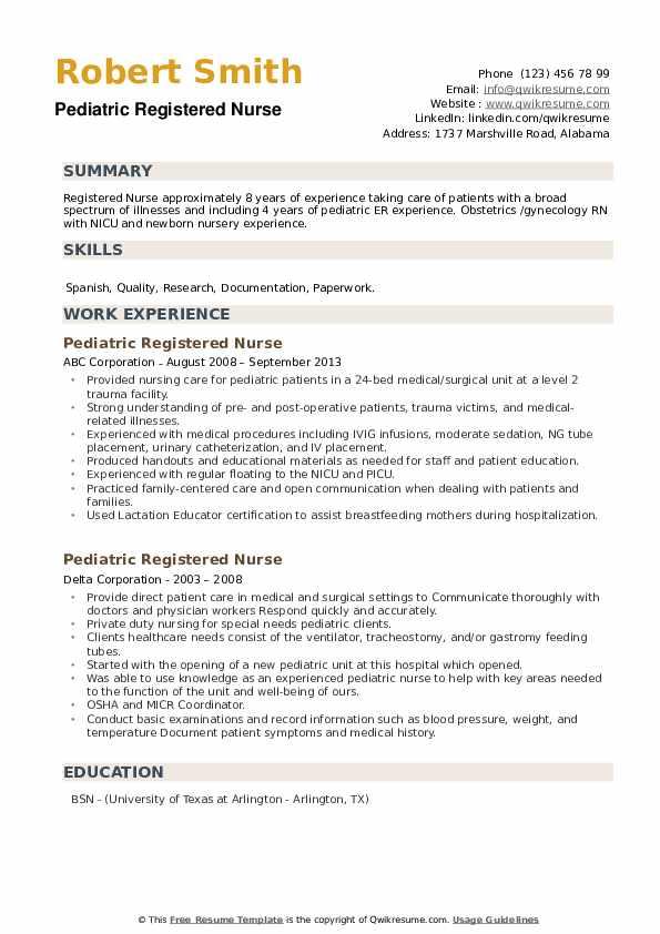 Pediatric Registered Nurse Resume9 .Docx (Word)