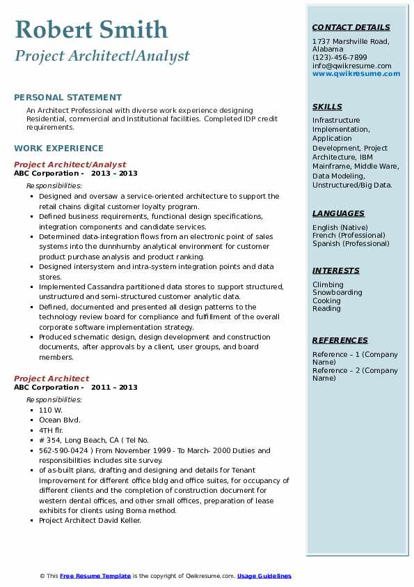 Project Architect Analyst Resume
