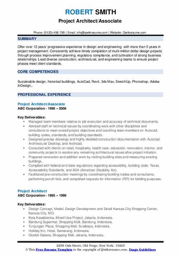 Project Architect/Associate Resume