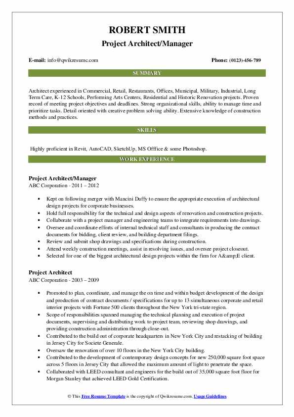 Project Architect/Manager Resume