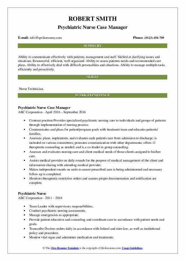 Psychiatric Nurse Case Manager Resume