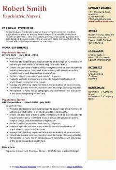 Psychiatric Nurse I Resume