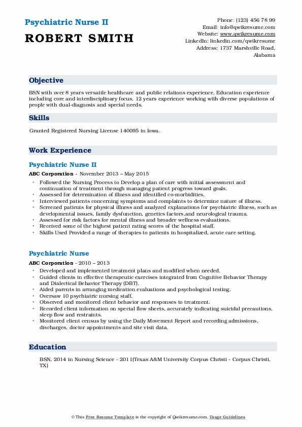 Psychiatric Nurse II Resume
