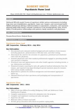Psychiatric Nurse Lead Resume