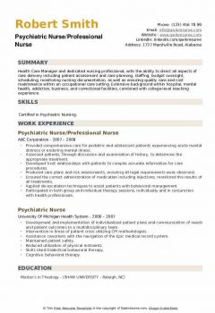 Psychiatric Nurse Professional Nurse Resume
