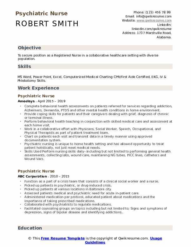Psychiatric Nurse Resume