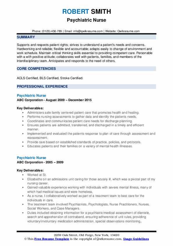 Psychiatric Nurse Resume1