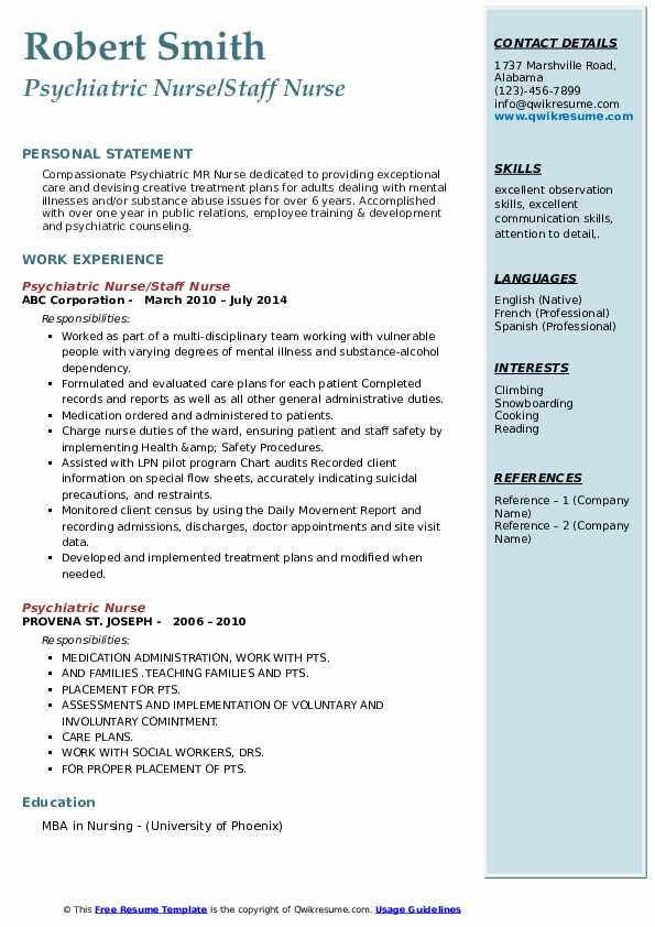 Psychiatric Nurse Staff Nurse Resume