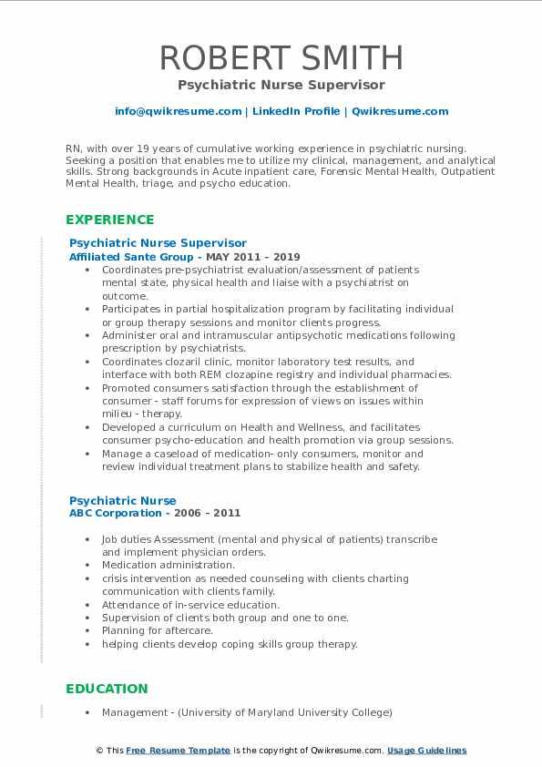 Psychiatric Nurse Supervisor Resume