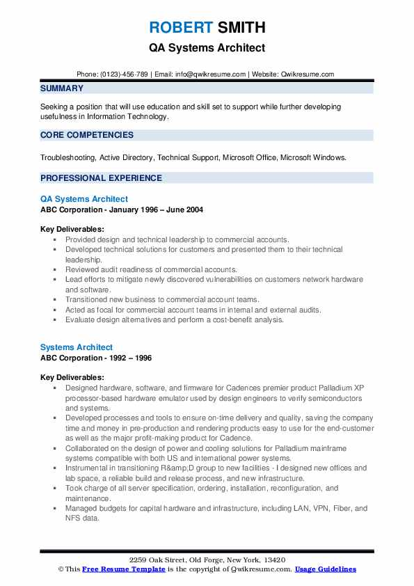 QA Systems Architect Resume