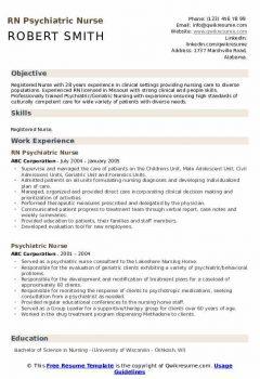 RN Psychiatric Nurse Resume