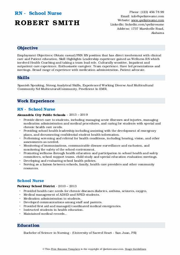 RN – School Nurse Resume .Docx (Word)