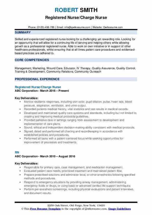 Registered Nurse Charge Nurse Resume