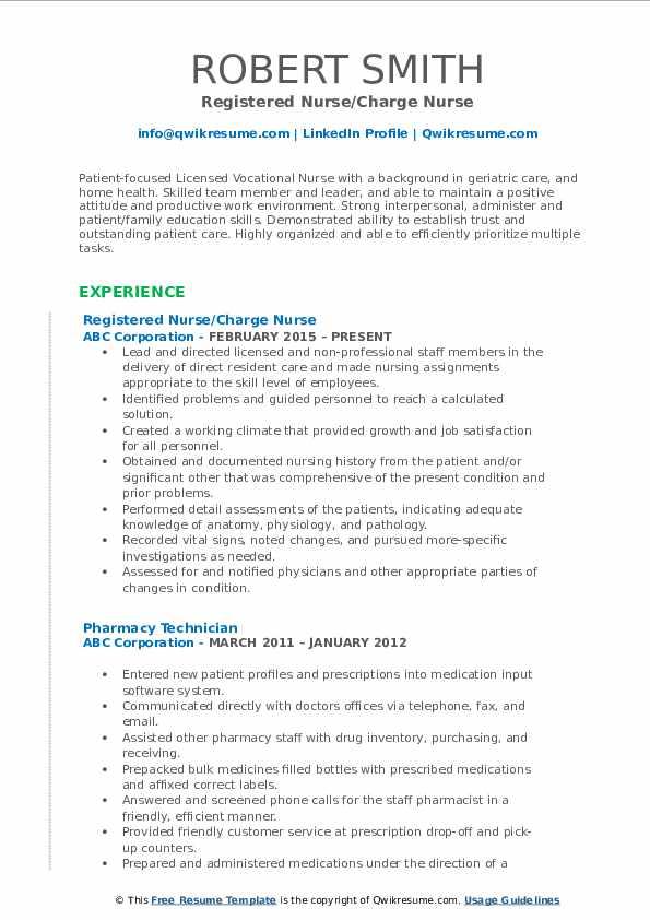 Registered Nurse Charge Nurse Resume1