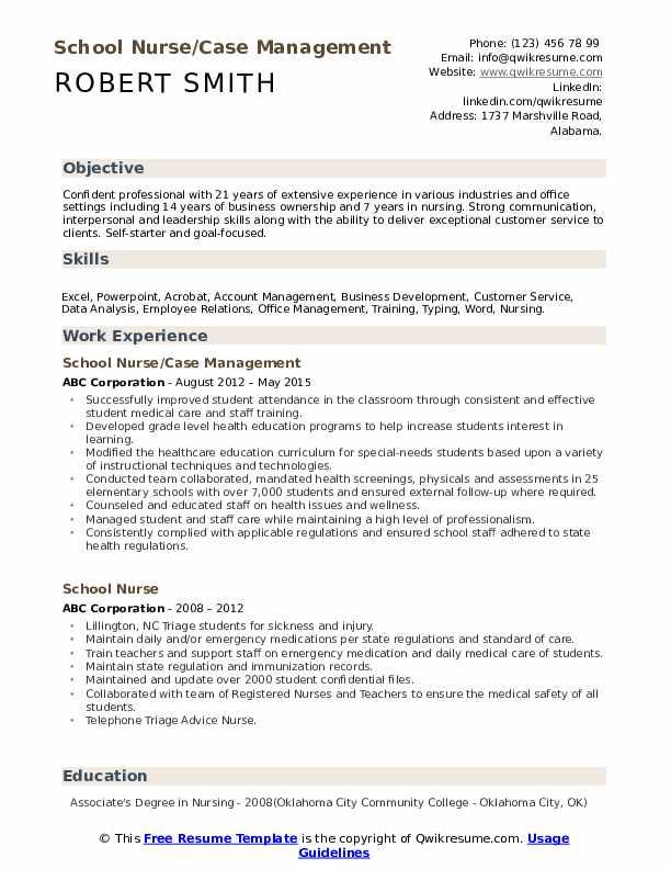 School Nurse Case Management Resume