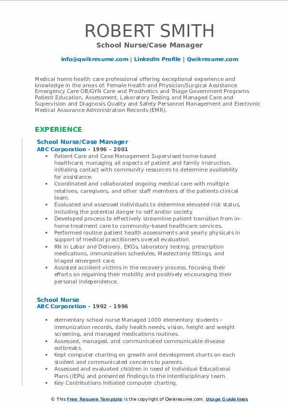 School Nurse Case Manager Resume .Docx (Word)