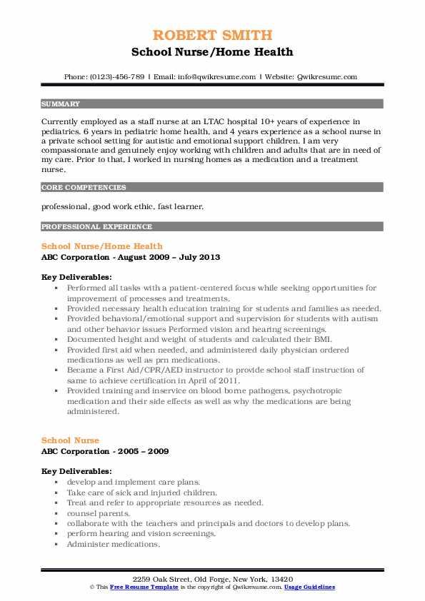 School Nurse Home Health Resume