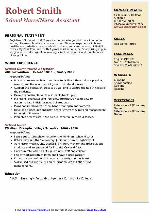 School Nurse Nurse Assistant Resume