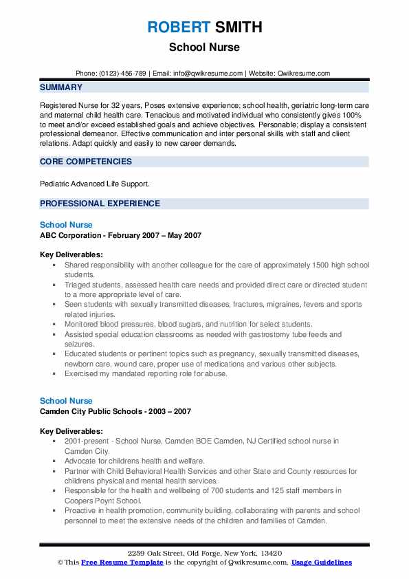 School Nurse Resume1 .Docx (Word)