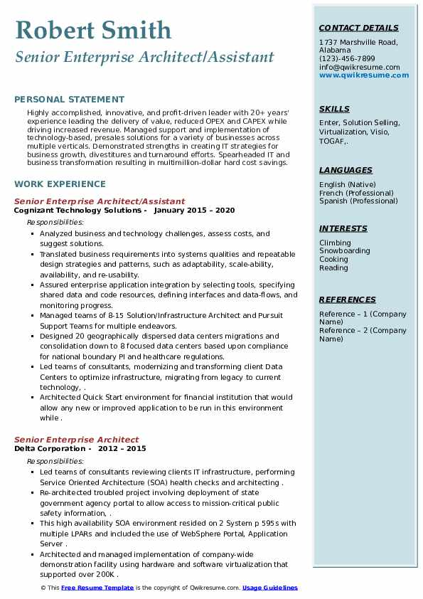 Senior Enterprise Architect/Assistant Resume .Docx (Word)