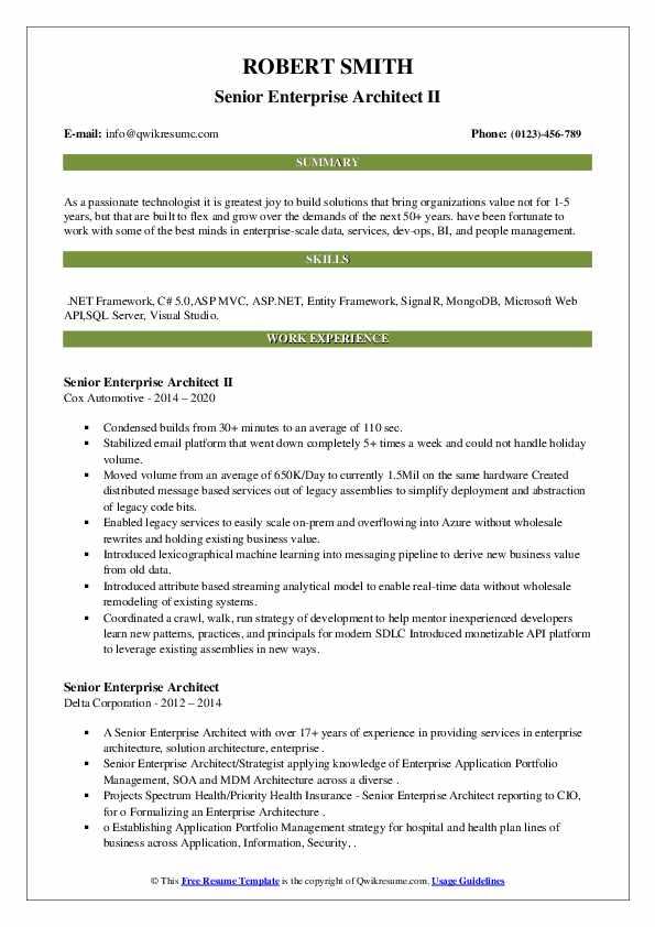 Senior Enterprise Architect II Resume