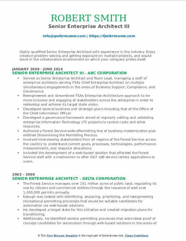 Senior Enterprise Architect III Resume