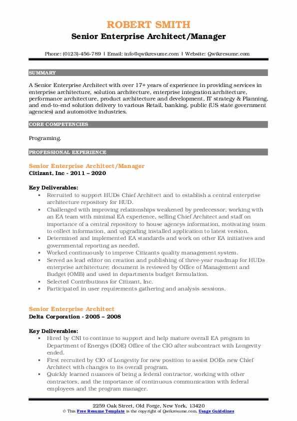 Senior Enterprise Architect Manager Resume