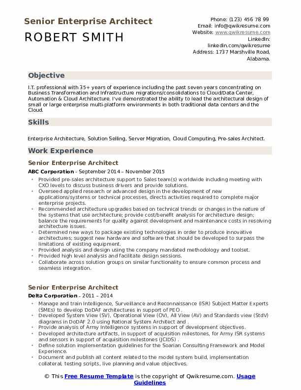 Senior Enterprise Architect Resume