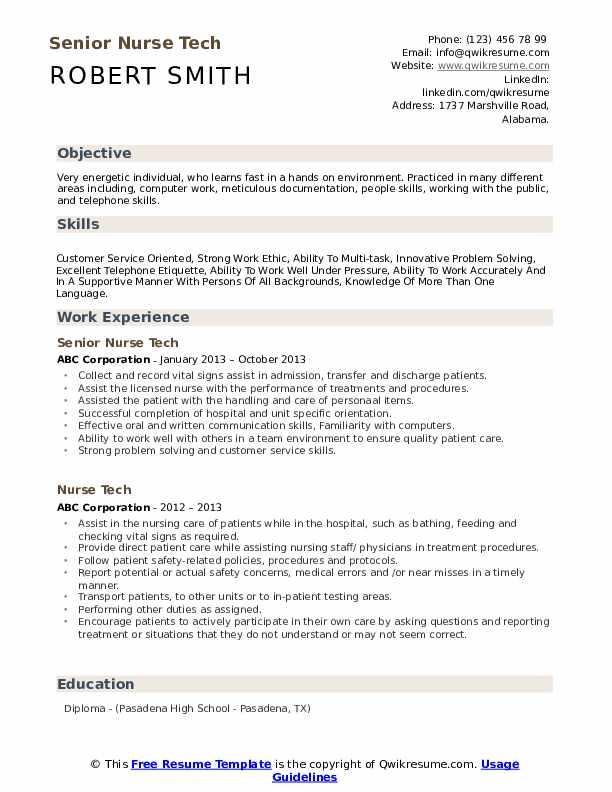 Senior Nurse Tech Resume