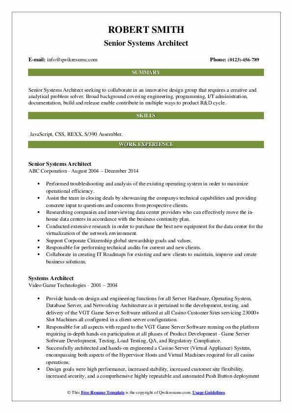 Senior Systems Architect Resume