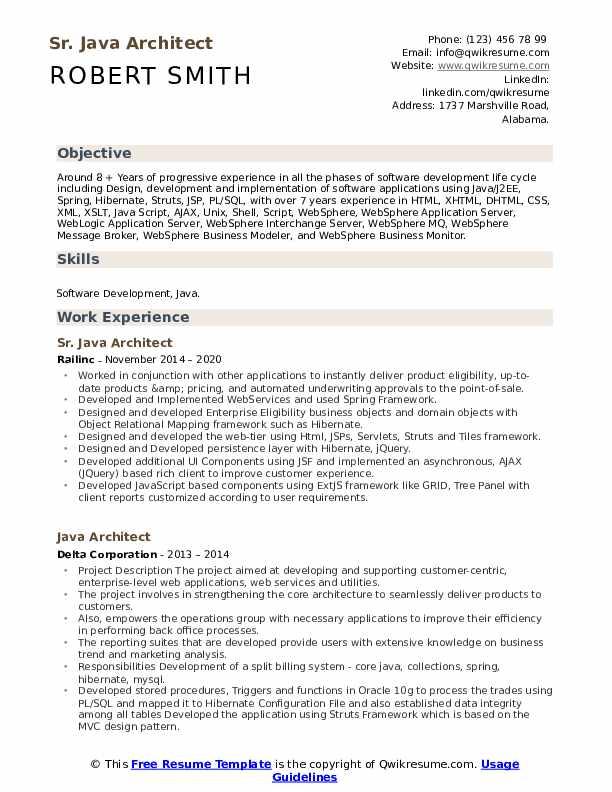 Sr. Java Architect Resume