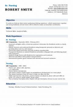 Sr. Nursing Resume